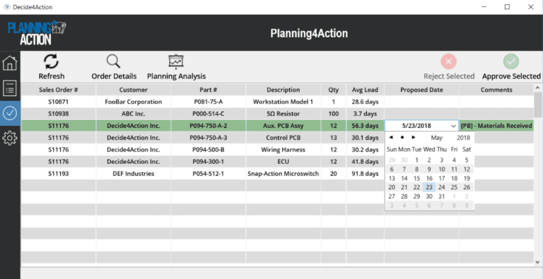 Planning4Action Approvals screenshot