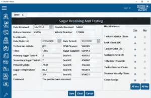 Sugar receiving and testing screenshot