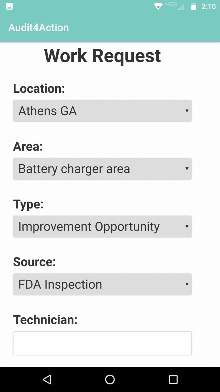 Work request mobile screenshot