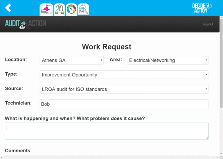Work request screenshot
