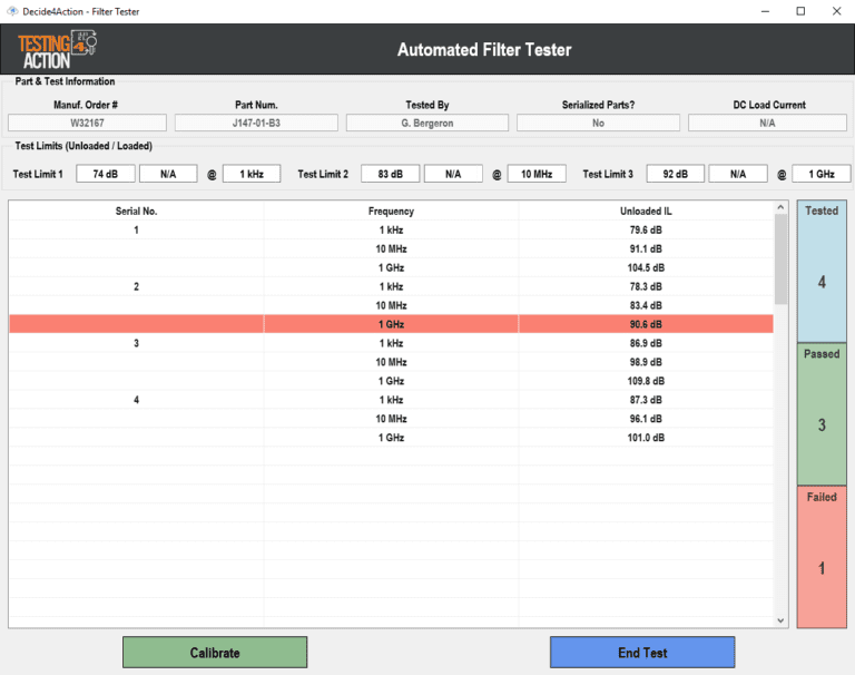 Automated filter tester screenshot