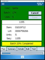 Batch Verification screenshot on the scanner