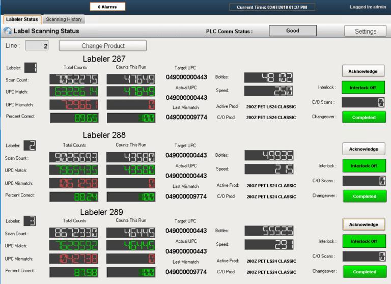 Label scanning status screenshot