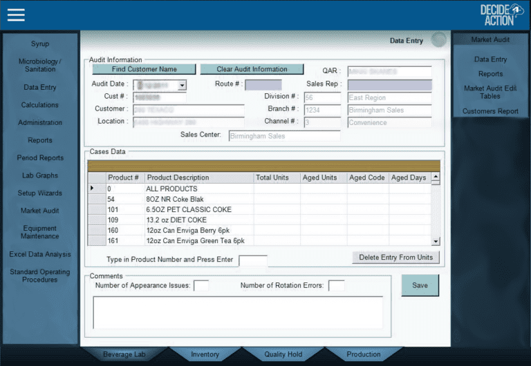 Data entry with Customer screenshot