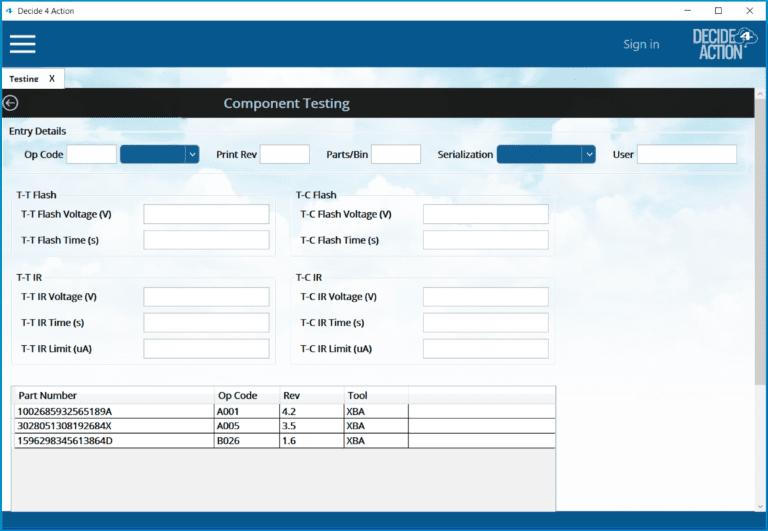 Component testing screenshot