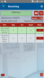 Batch valid scan receiving screenshot