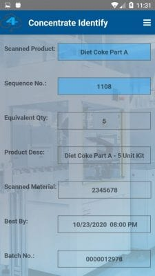 Batch concentrate identify completed screenshot