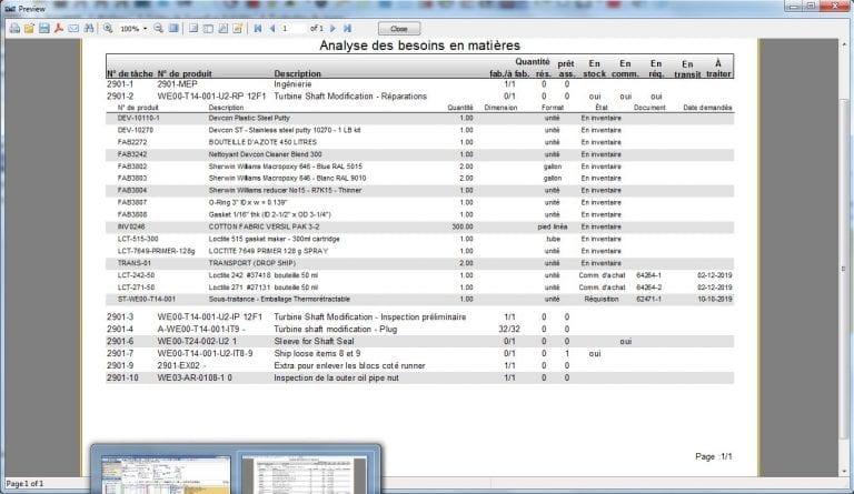 Material needs analysis screenshot