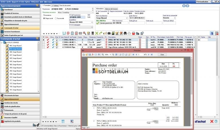 Purchase order screenshot