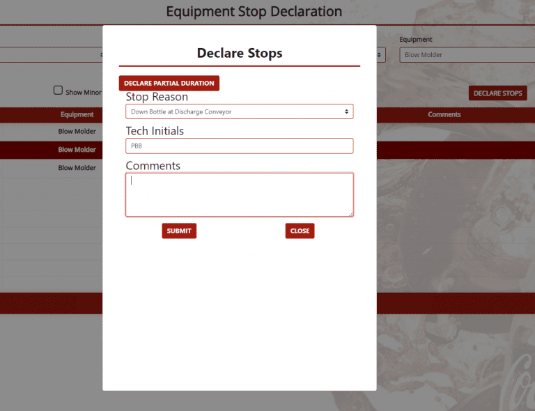 Stop declaration selection screen
